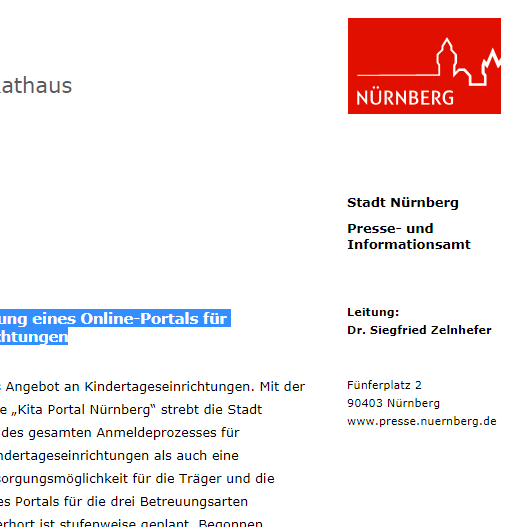 Einführung eines Online-Portals für Nürnberger Kindertageseinrichtungen